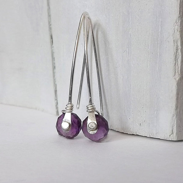 silver rivet earrings amethyst
