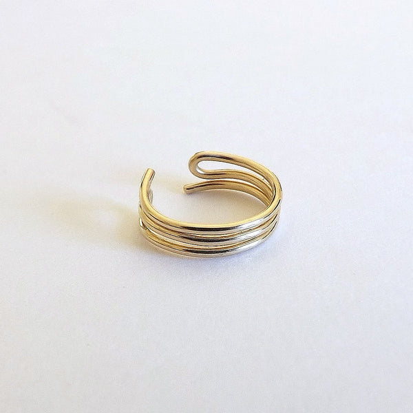 Gold Ear Cuff Simple Triple Band