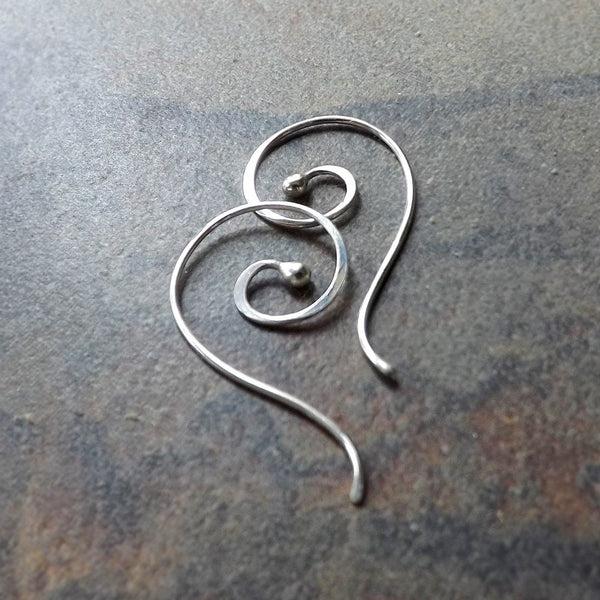 silver bud coil earrings