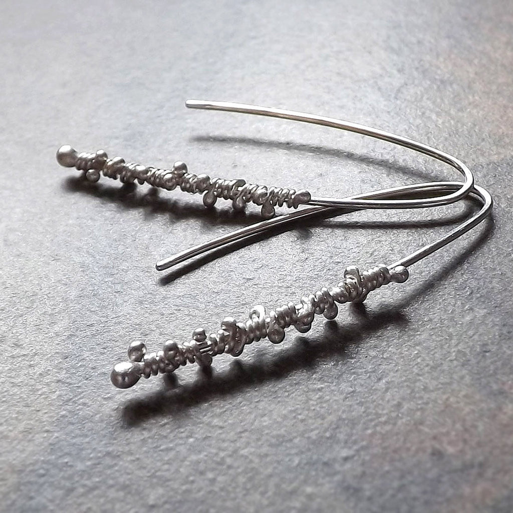 silver wrapped threader earrings