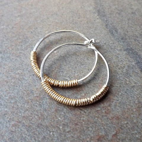 silver and gold hoops