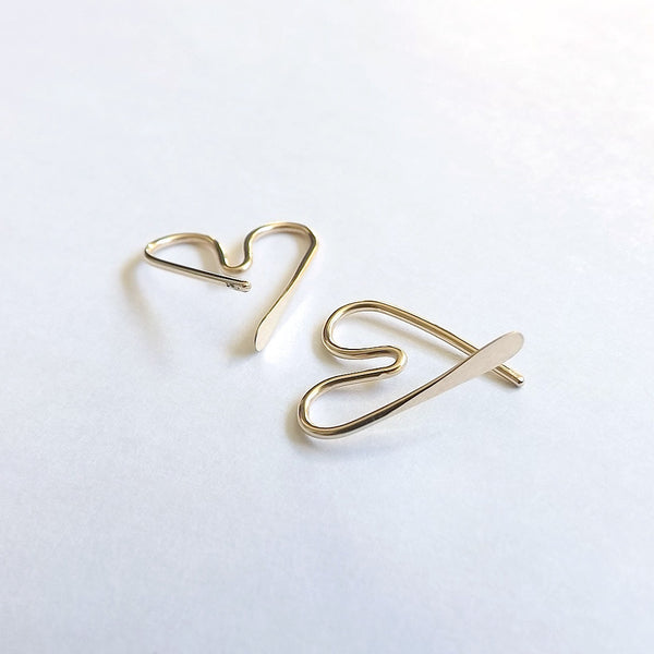 Heart Hoops Gold Filled Small Earrings
