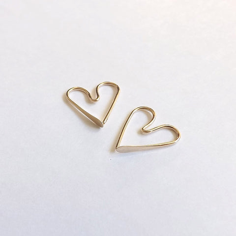 gold filled heart hoops