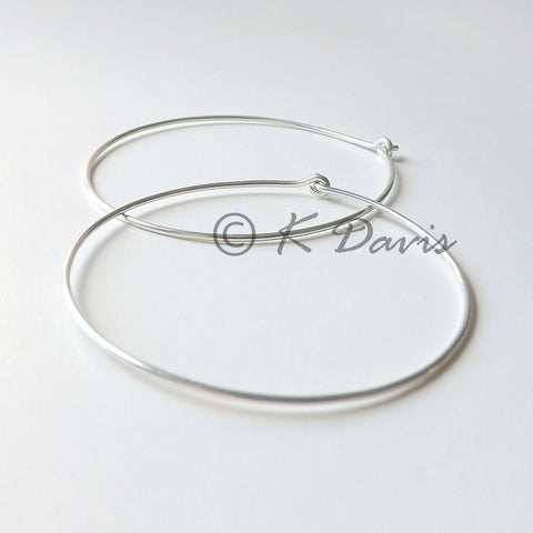 Large Hoops Sterling Silver Simple Hoop Earrings