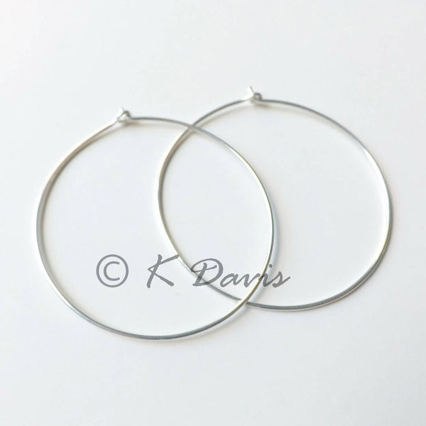 simple large silver hoops