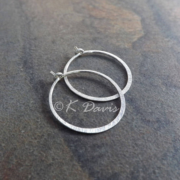 medium sterling silver hoops