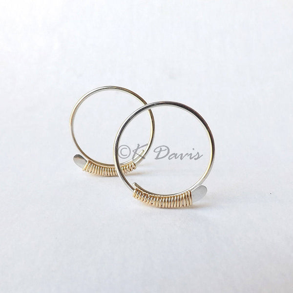 gold wrapped silver hoops