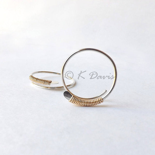 open hoop earrings wrapped in gold