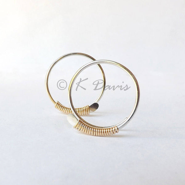 silver and gold mixed metal hoop earrings