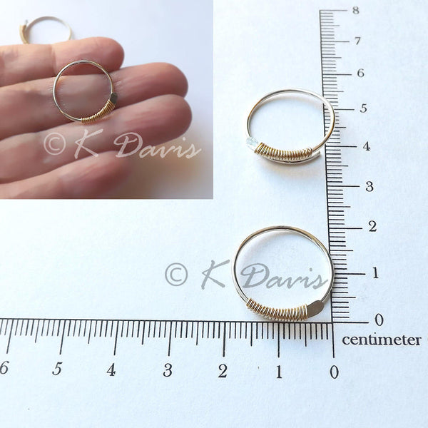 gold wrapped silver open hoops measurement