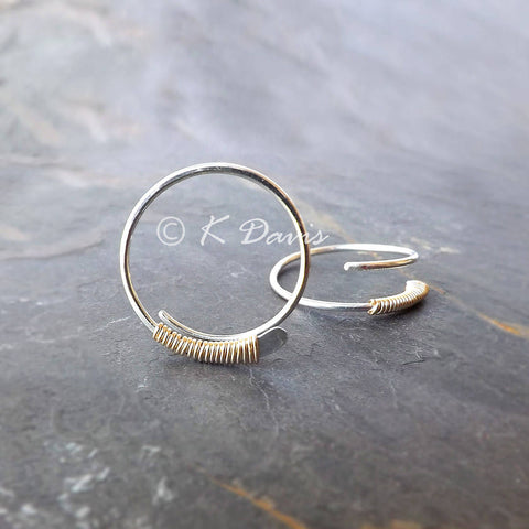 silver and gold wire wrap hoops