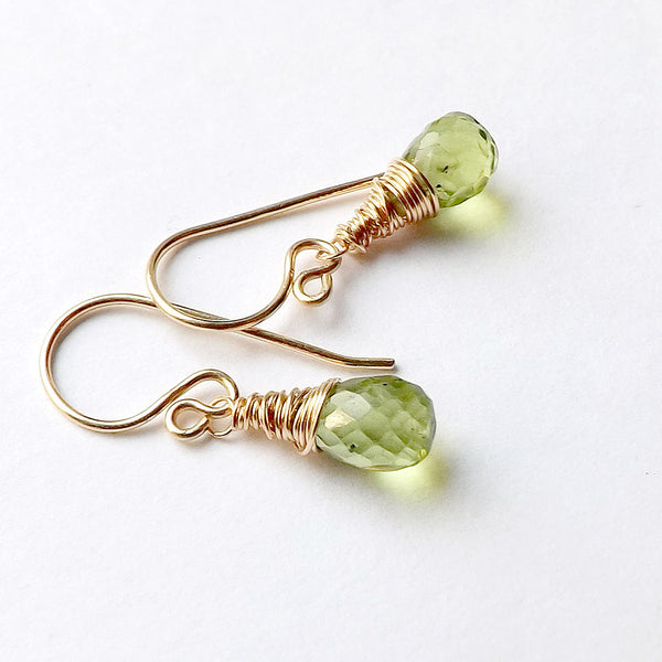 peridot and gold dangle earring