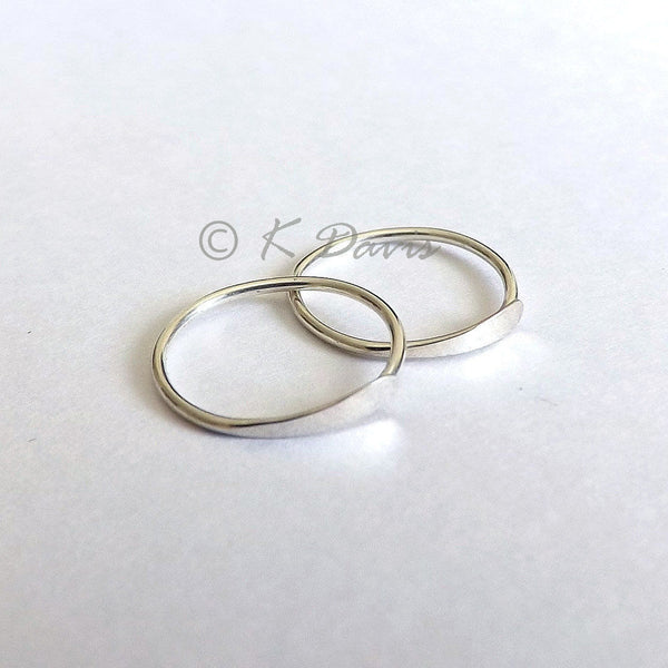 Silver Hoop Earrings, Hammered Sleeper Hoops
