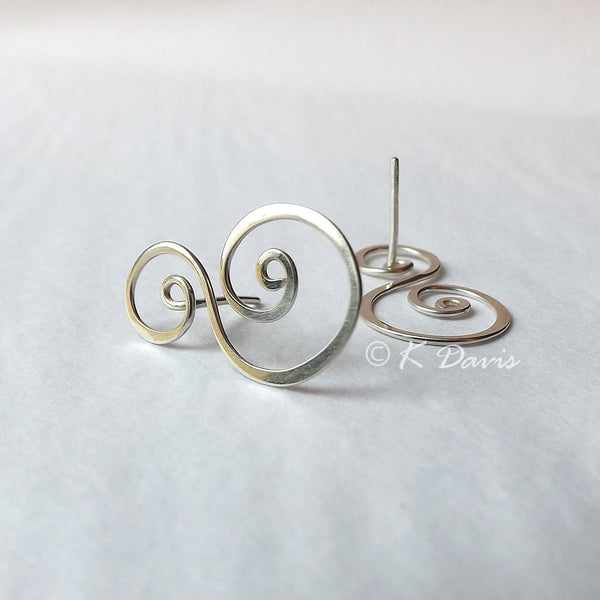 Silver Swirl Post Earrings