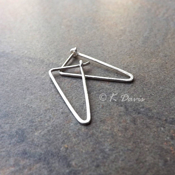 small triangle hoops in silver