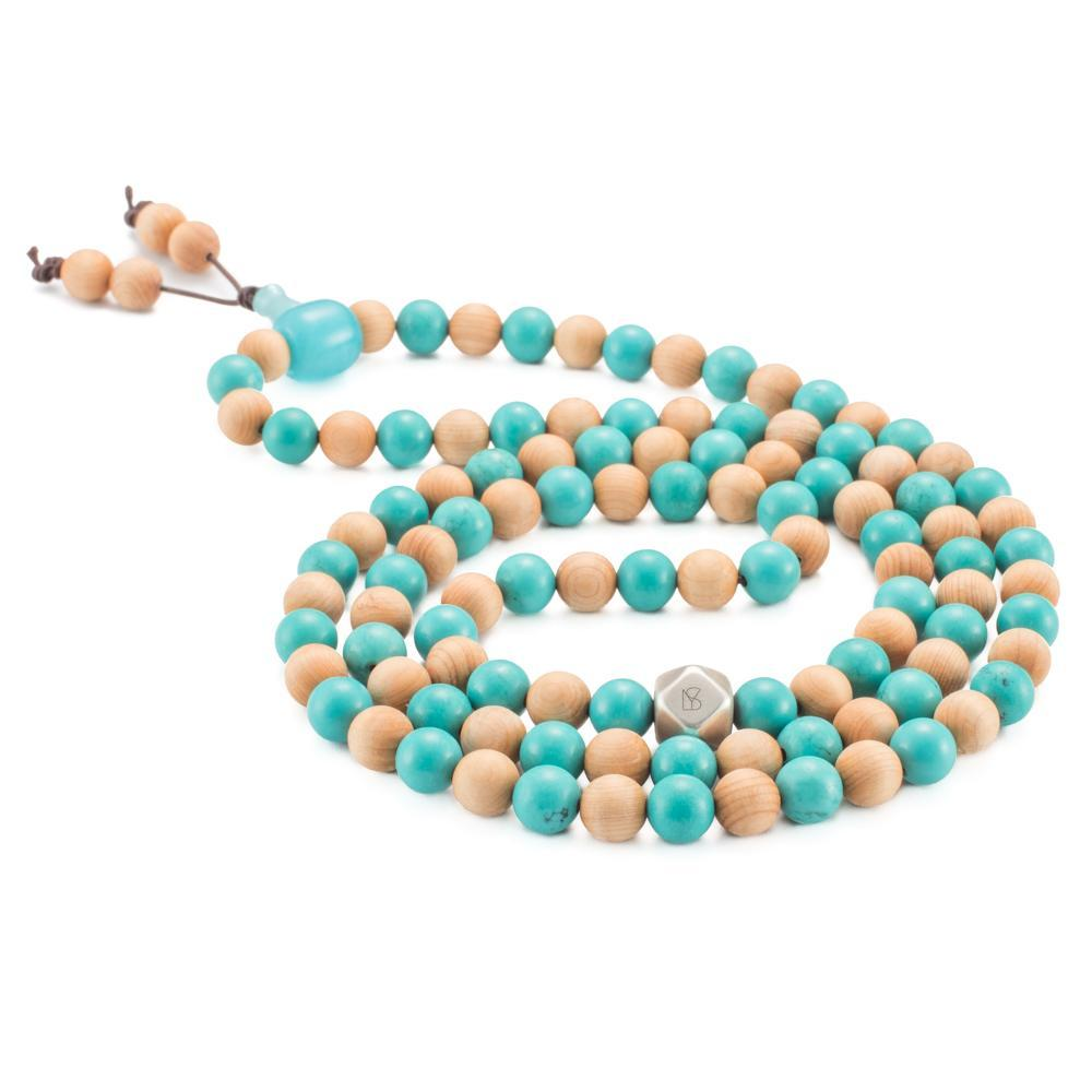 TURQUOISE MALA NECKLACE AND LILY CEDAR WOOD