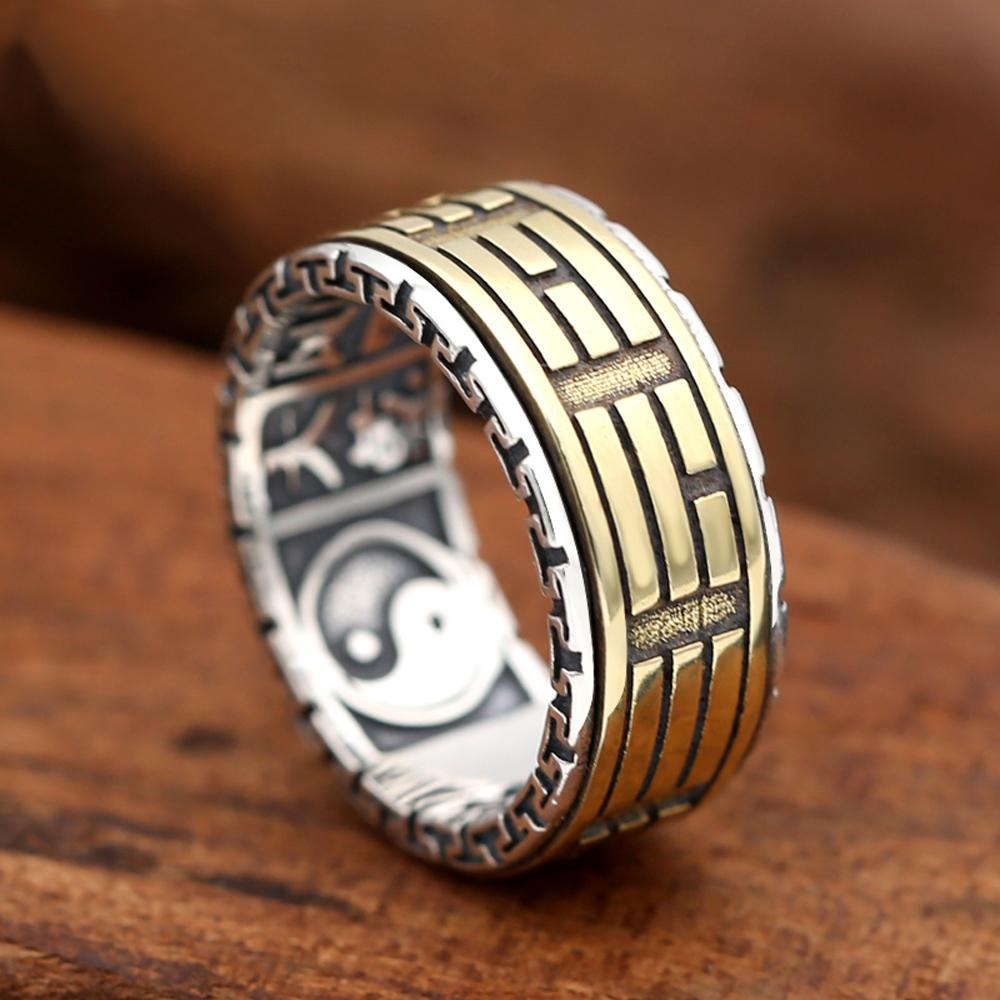 925 silver and copper rotating ring