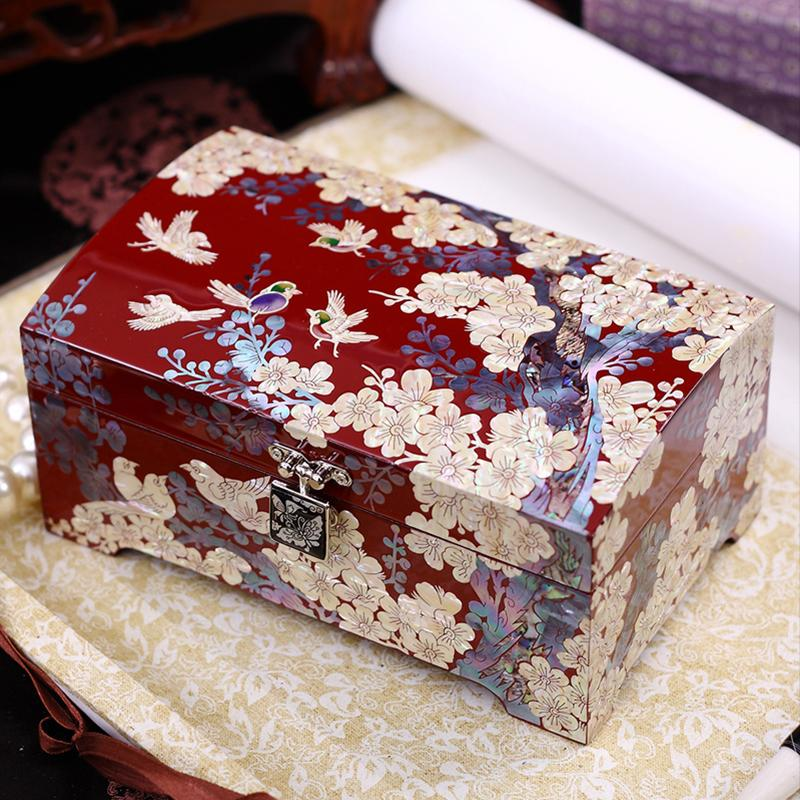 Chinese cherry blossom jewelry box in mother-of-pearl and wood-lase boxes - Chinese Asian Artisan boxes