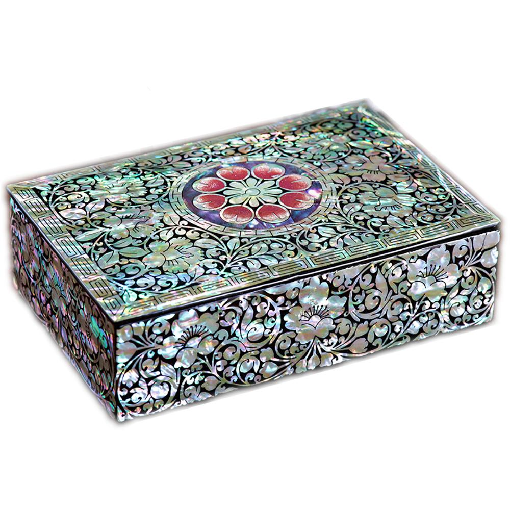 Chinese mother-of-pearl jewelry box Chinese Asian Artisan Boxes & Cases