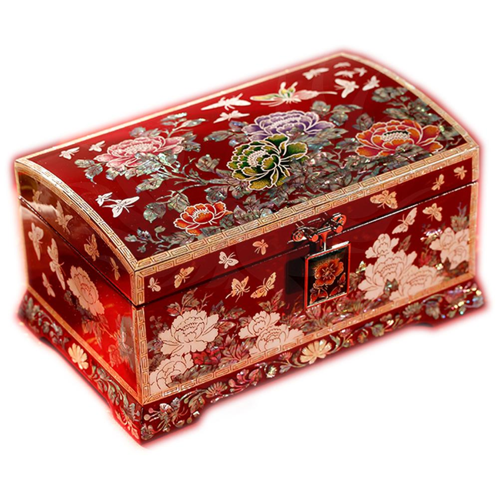 Chinese jewelry box with mother-of-pearl peony flowers and lace-up wood Boxes - Chinese Asian Artisan Boxes