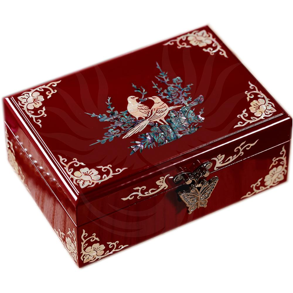 Chinese jewelry box birds in mother-of-pearl and wood-lace-up Boxes - Chinese Asian Artisan Boxes