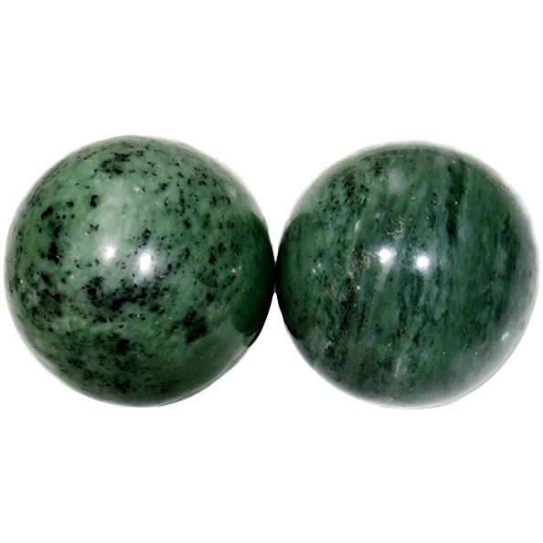 Qi Gong Balls - Chinese Jade Health Balls Qi-Gong Balls Asian Artisan Jade from Mount Lushan (Dark Green)