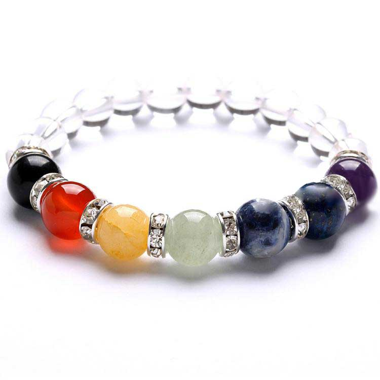 Bracelet 7 Chakras in natural stones and white crystal Chakras & Reiki Artisan from Asia