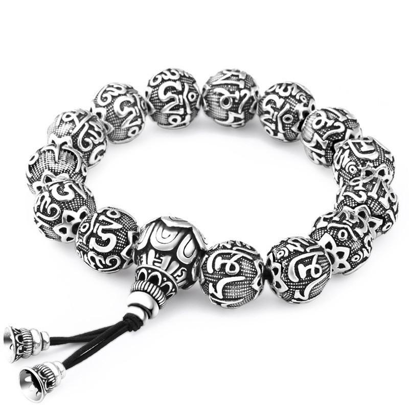 Mala bracelet in pure silver 990/1000 Malas bracelets Asian Artisan Silver Plated: M (12 mm)