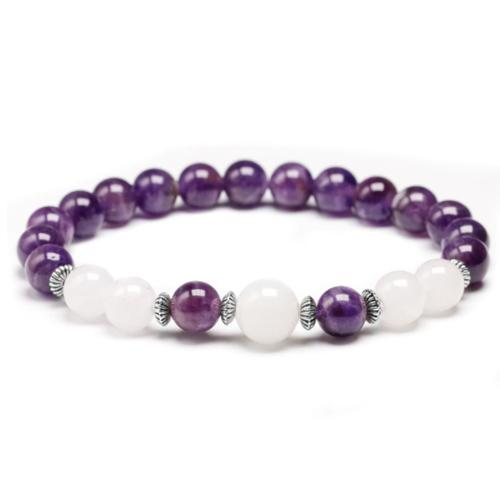 Mala bracelet in Moonstone and Amethyst Bracelets Malas Artisan of Asia
