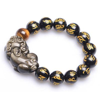 Mala bracelet in engraved obsidian stone and tiger eye