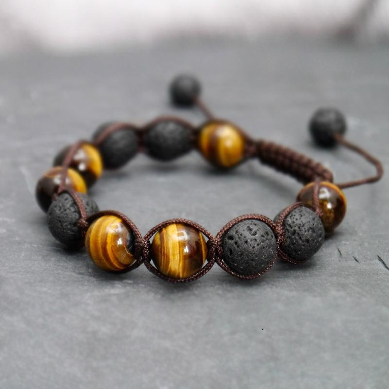 Mala bracelet in tiger eye stone and lava stone (essential oil diffuser) Malas Artisan bracelets of Asia Adjustable Bracelet