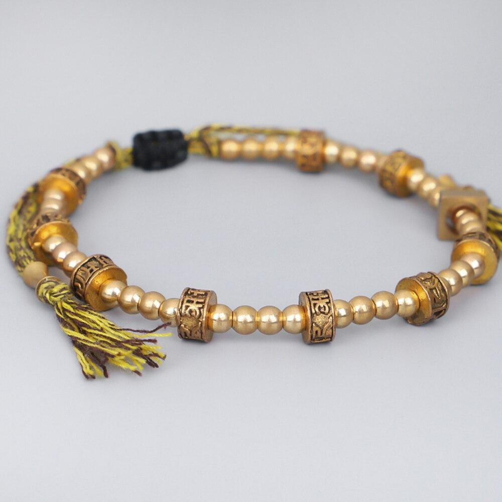 Hand-woven Tibetan bracelet with Tibetan copper beads Tibetan Braided Bracelets Artisan of Asia 2781