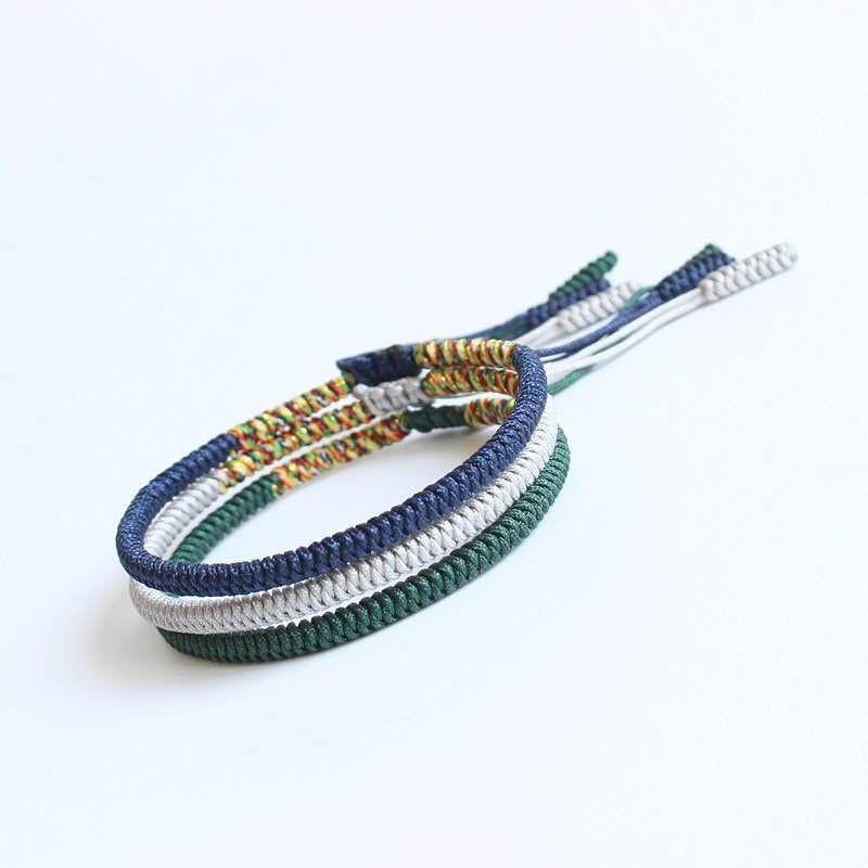 Hand braided Tibetan bracelet blue, gray and green Tibetan Braided Bracelets Asian Artisan Lot of 3 bracelets (-10 €)