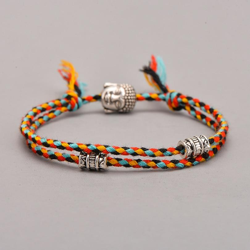 Multi-coloured hand-woven Tibetan bracelet with a choice amulet to choose Tibetan Braided Bracelets Artisan of Asia