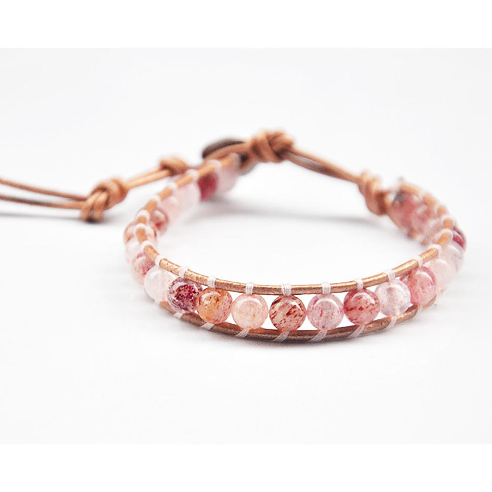 Tibetan braided bracelet in leather and natural stones Tibetan Braided Bracelets Asian Artisan Rose Quartz