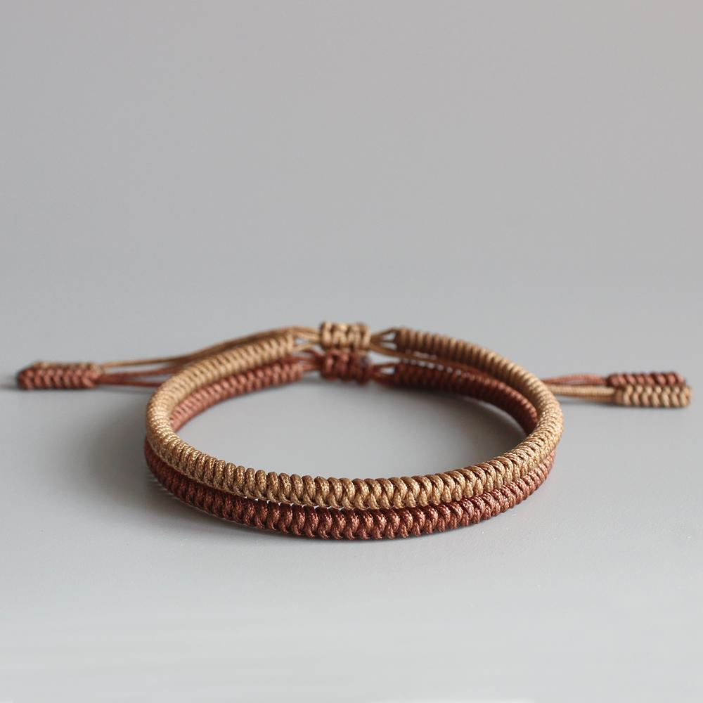 Bracelet tressé tibétain marron