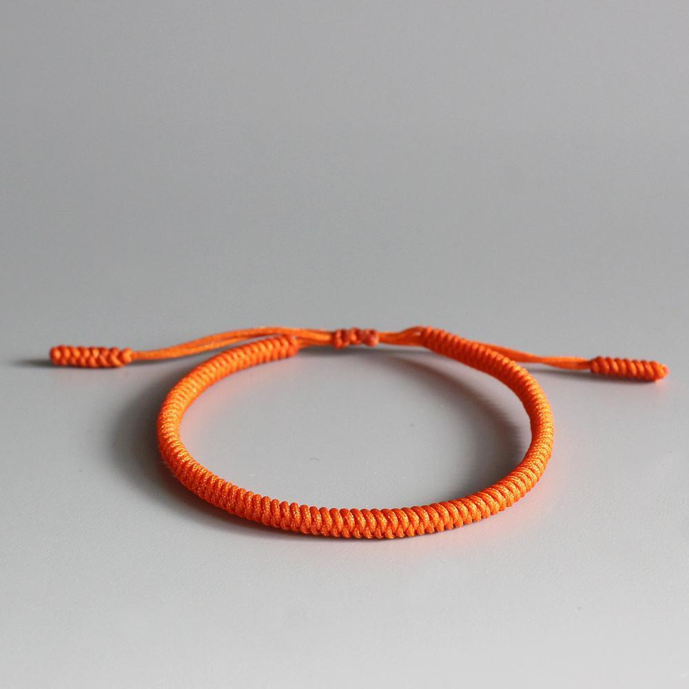 Bracelet tressé tibétain orange