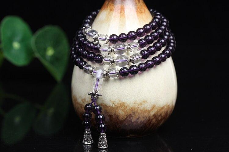 Mala necklace 108 stone beads of Amethyst Colliers Malas Artisan of Asia