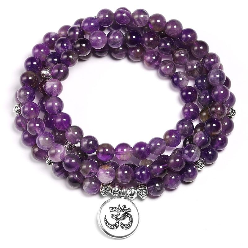 Mala necklace in Amethyst Malas necklaces Asian craftsman Mantra OM