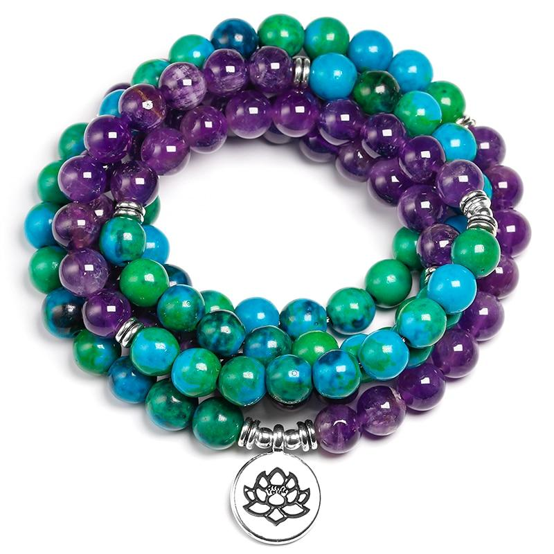 Mala necklace in Amethyst and Chrysocolle Pendants - Asian Artisan Amulets