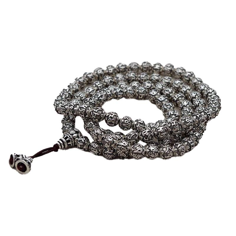 Pure silver mala necklace 990/1000 Malas Artisan necklaces from Asia