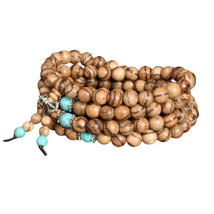 Mala necklace in oud wood and turquoise Malas necklaces Asian craftsman