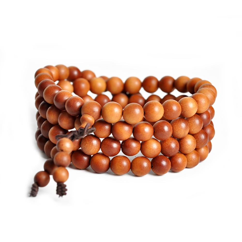 Brown sandalwood mala necklace Colliers Malas Artisan d'Asia