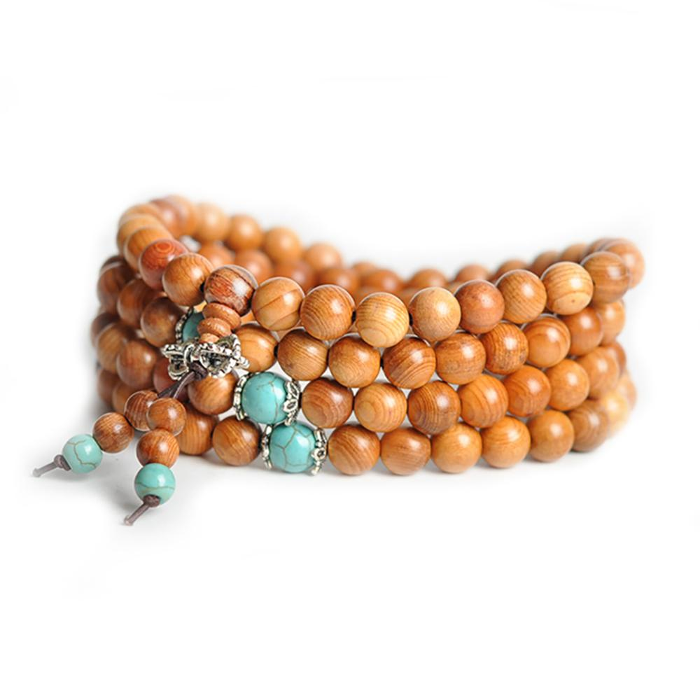 Sandalwood Mala Collar and Turquoise Malas Artisan necklace from Asia