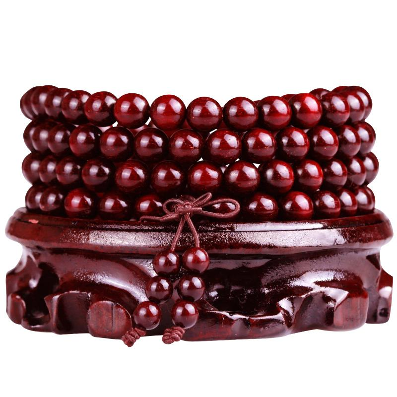 Collier mala en bois de santal rouge