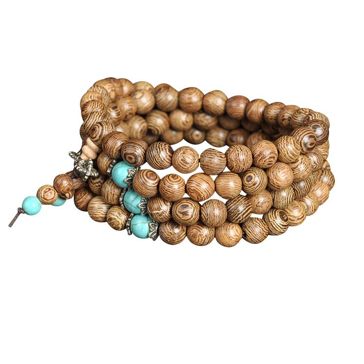 Wengé wood mala necklace and turquoise Malas Artisan necklaces from Asia
