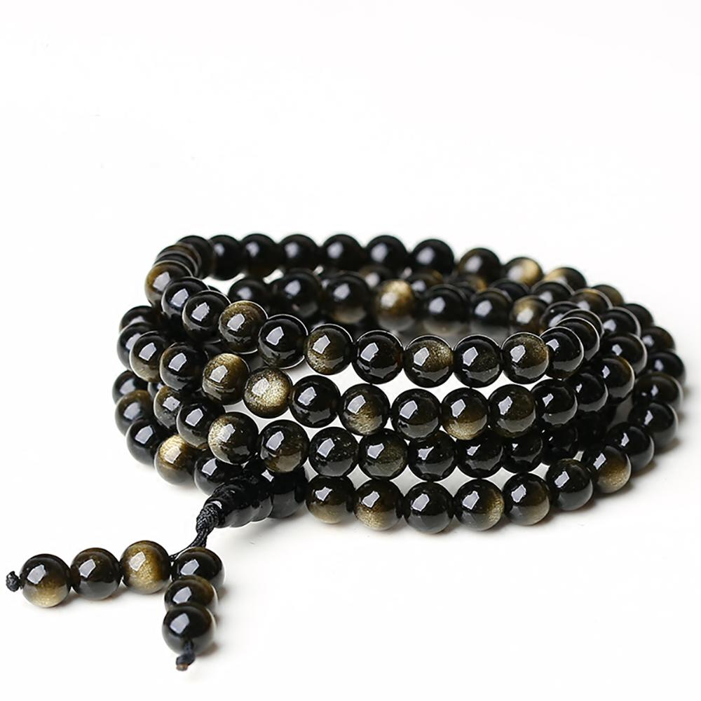 Mala necklace in golden obsidian stone Malas necklaces Asian craftsman