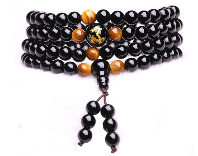 Obsidian stone mala necklace and Chinese astrological sign Colliers Malas Artisan from Asia