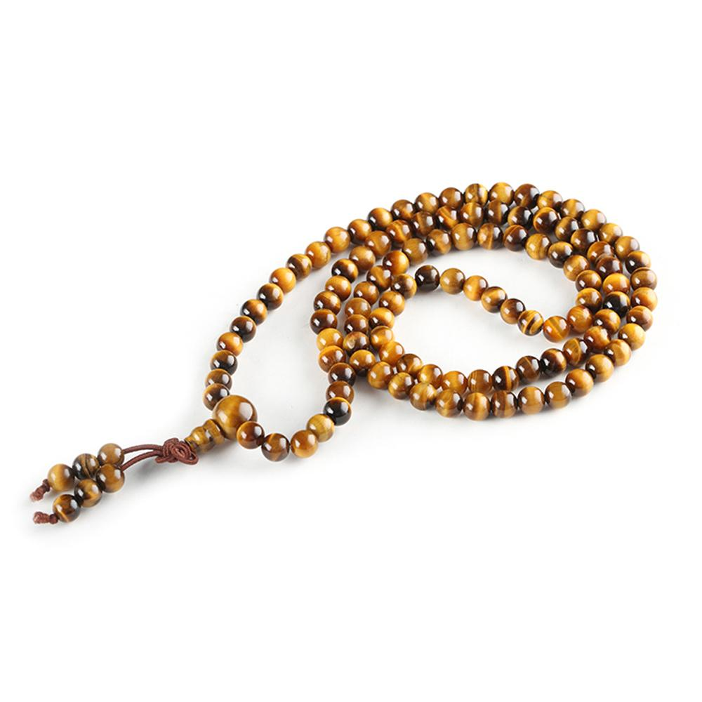 Yellow tiger eye stone mala necklace Asian Artisan Malas necklaces