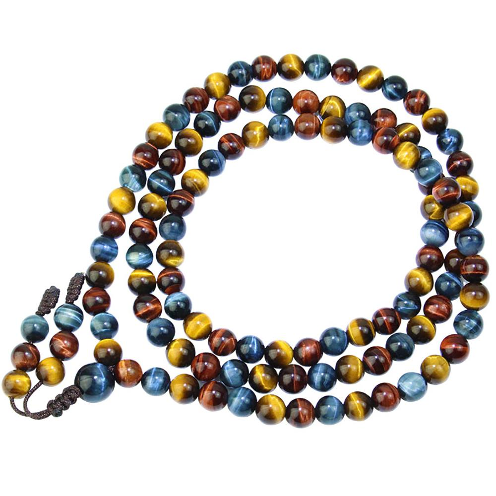 Red, yellow and blue tiger eye stone mala necklace Asian Artisan Malas Necklaces